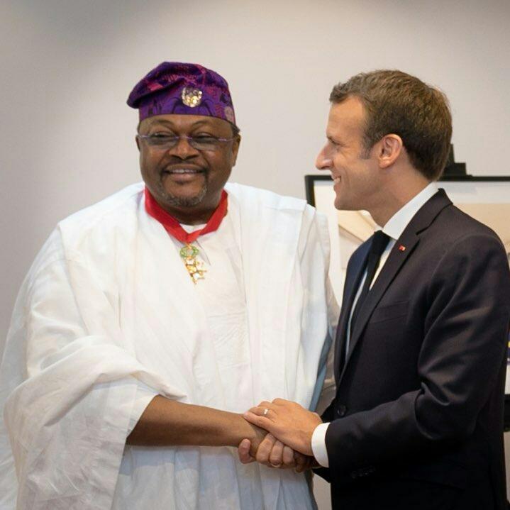 Macron confers highest honour on Adenuga as he unveils Alliance Francaise center + photos