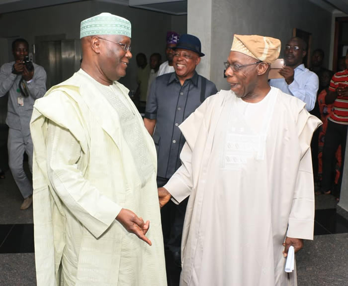 Atiku in closed door meeting with his former boss, Obasanjo
