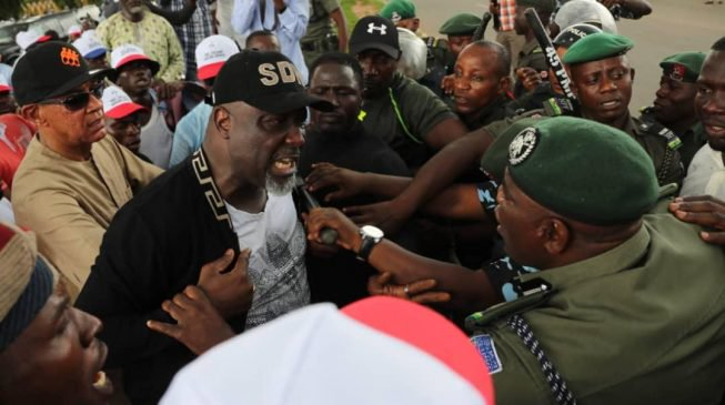 Melaye in confrontation with police officers at INEC head office