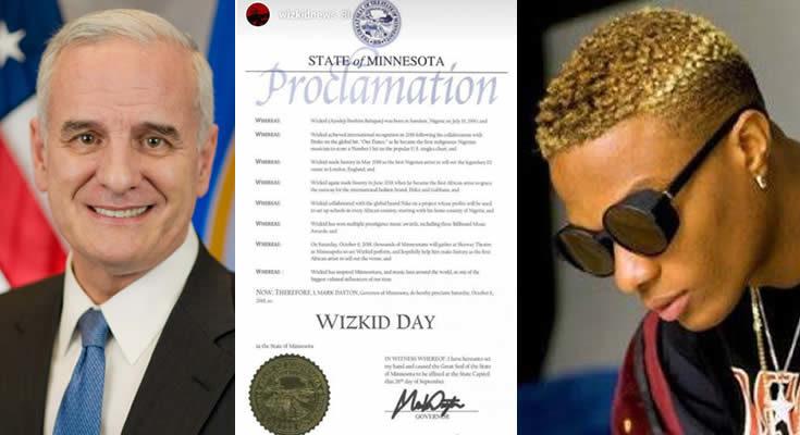 Wizkid honoured by Minnesota governor in U. S.