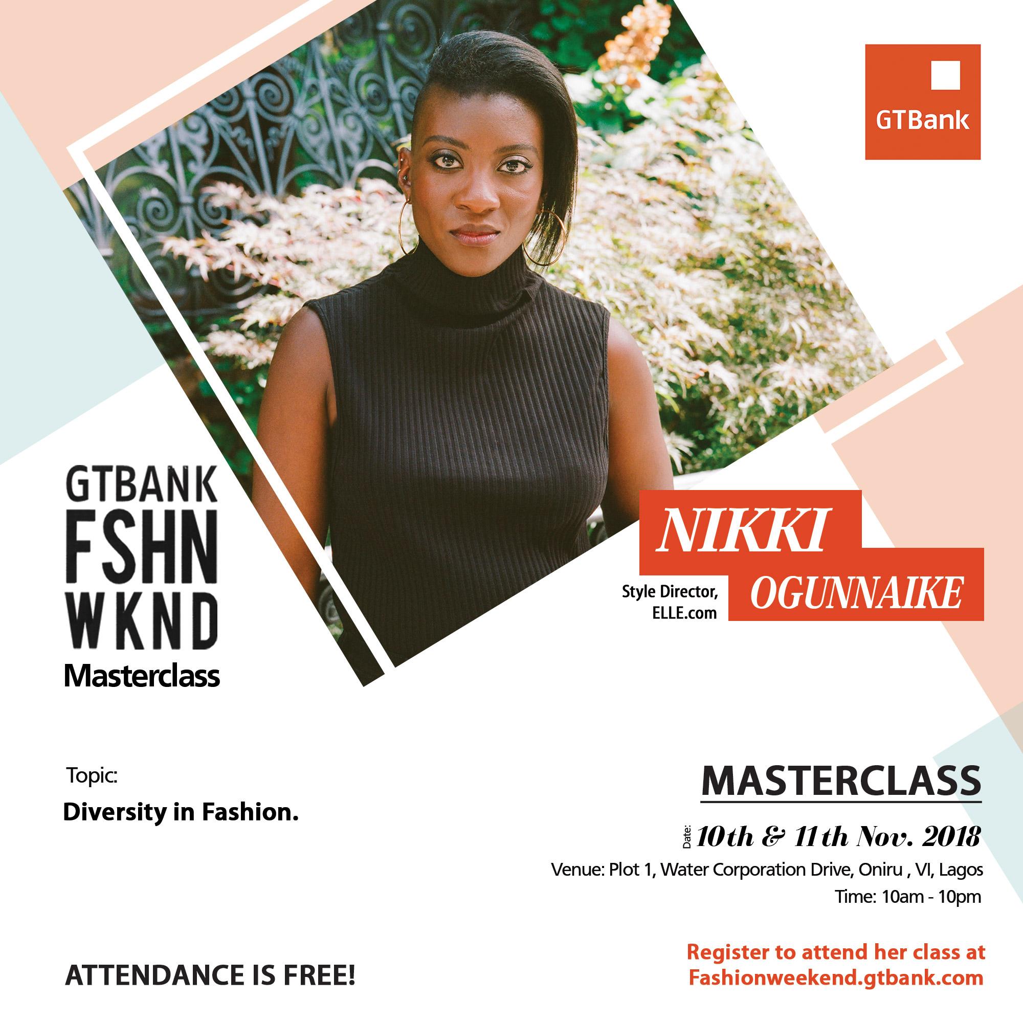 Join Julia Sarr-Jamoisin, BurakCakmak, Nike Ogunaike, Stavros Karelis & Anna Trevelyan for their master classes at the GTBank Fashion Weekend