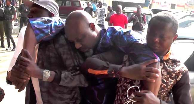 Watch as Dino Melaye slumped after surrendering to police