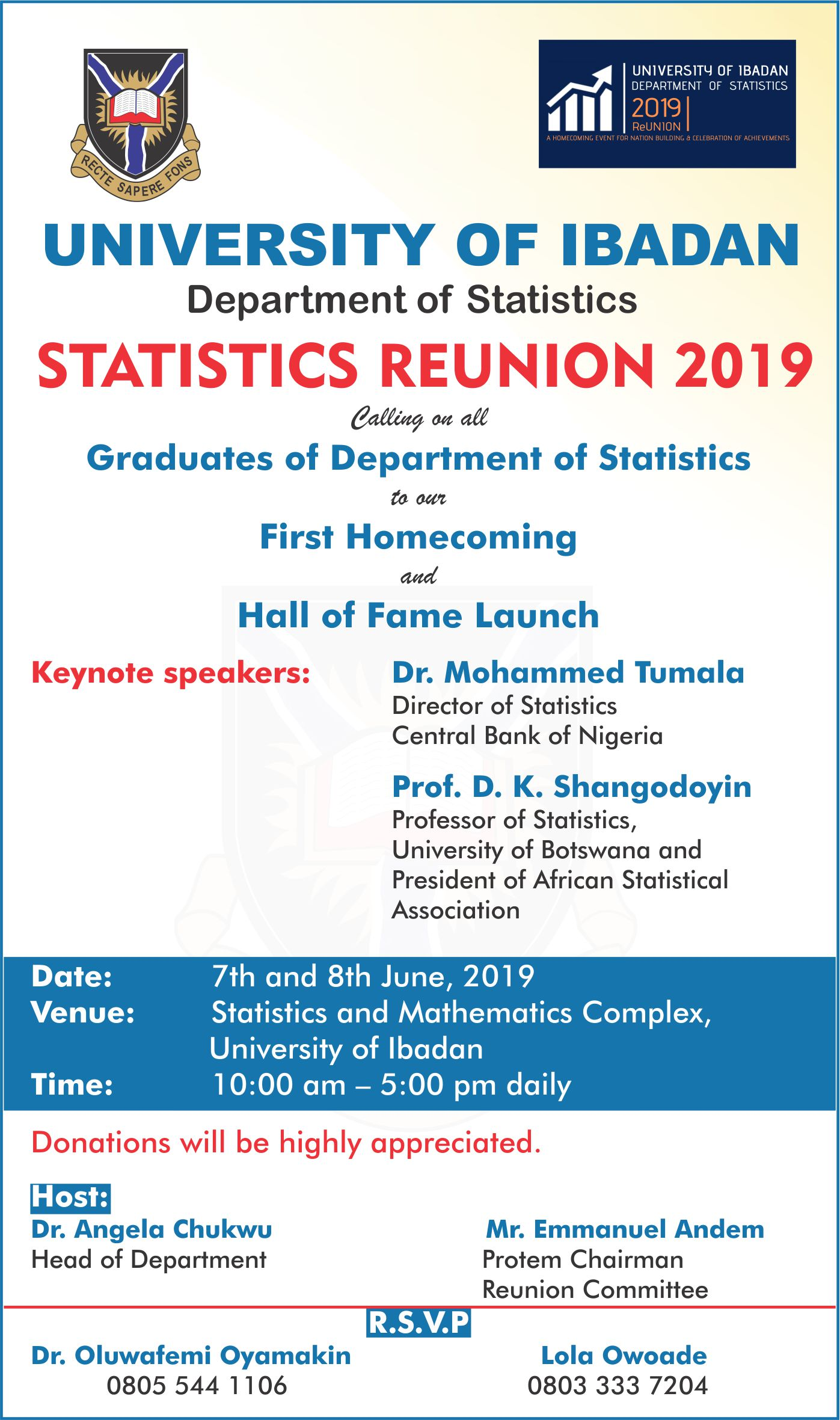 Statistics graduates UI, to hold first home coming/reunion