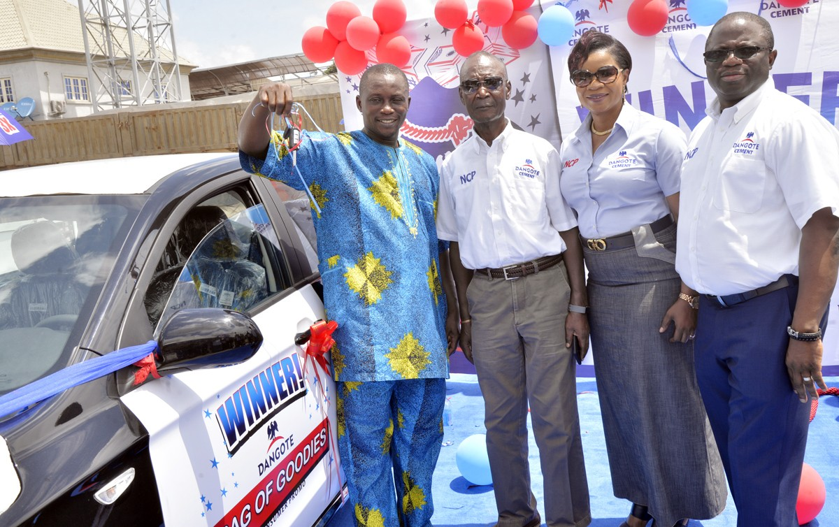 Abraka based retailer wins a car in Dangote Cement Bag of Goodies Scratch and Win Promo