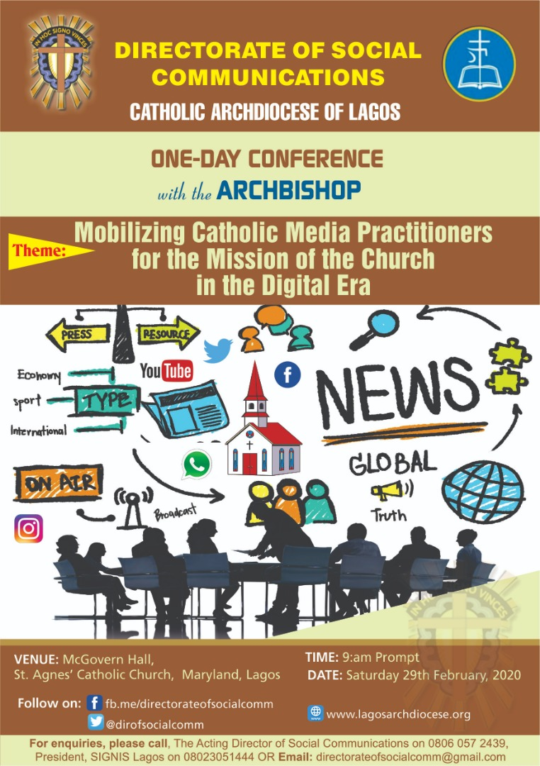 Catholic Archdiocese of Lagos set to hold conference for media practitioners