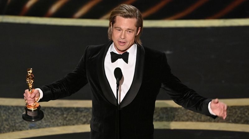 Brad Pitt wins his first Oscar in his entire acting career