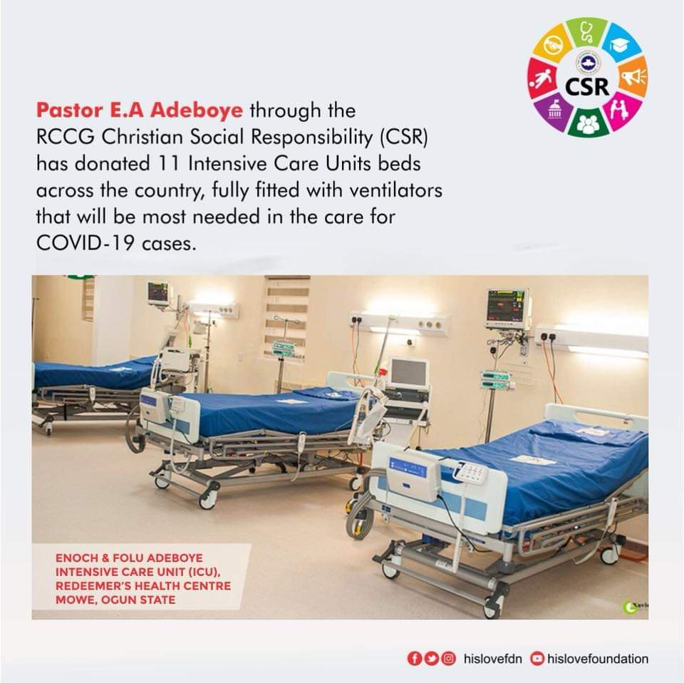 COVID-19: RCCG donates 11 intensive care bed units