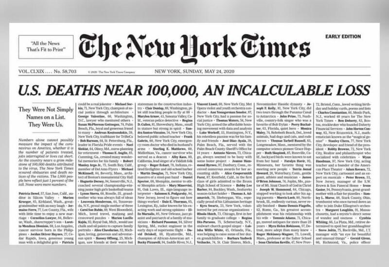 New York Times fills cover with names of COVID-19 dead