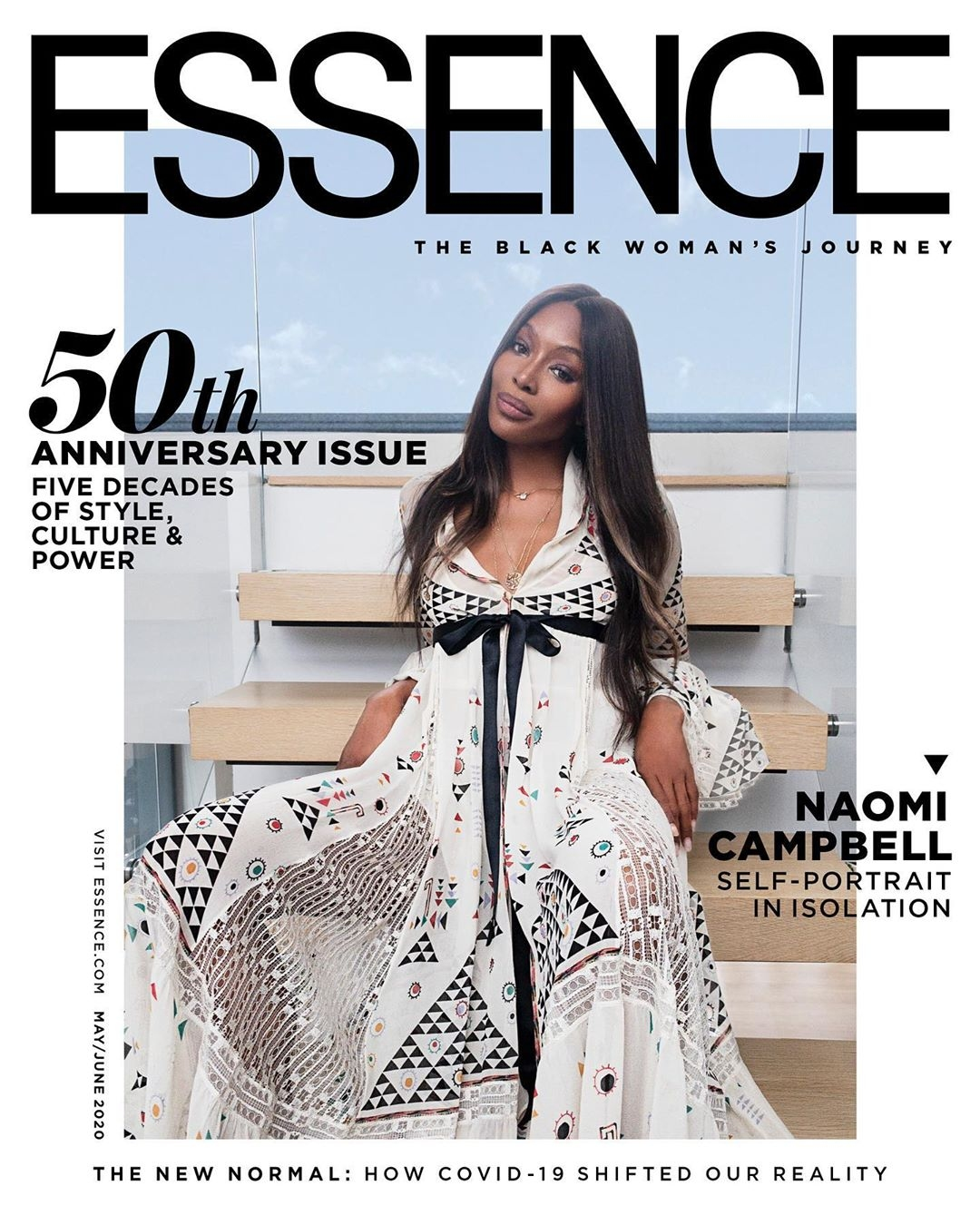 Naomi Campbell photographs herself for Essence 5Oth anniversary cover