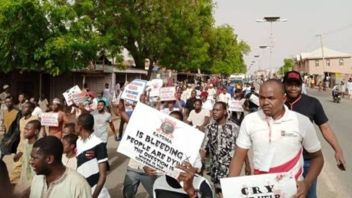 Katsina youths protest insecurity, block highway