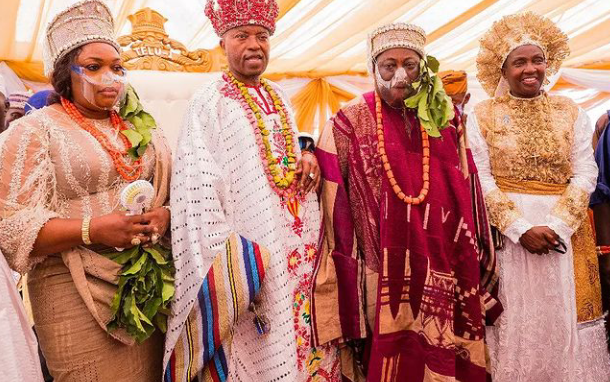 Dele Momodu, wife, bag chieftaincy titles from Oluwo of Iwo