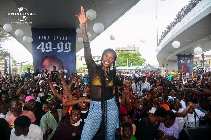 Tiwa Savage launches new single, '49-99' under Obalende bridge