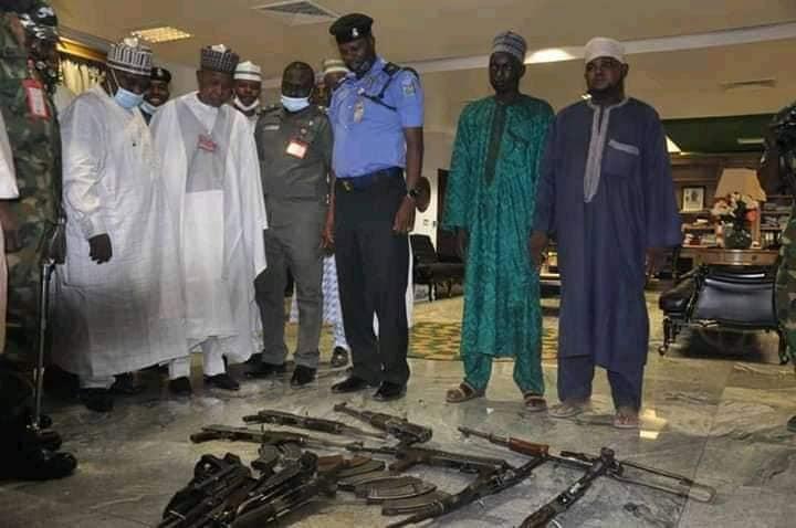 Repentant terrorists surrender ten AK 47 rifles to Gov Masari