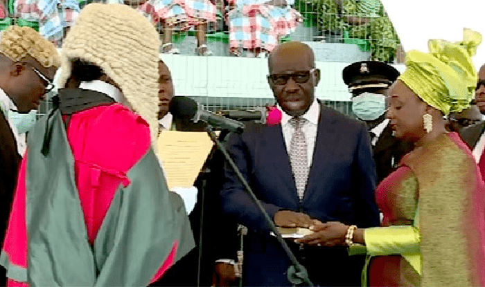 Obaseki's ADC, female paramilitary officer collapse at his second term inauguration