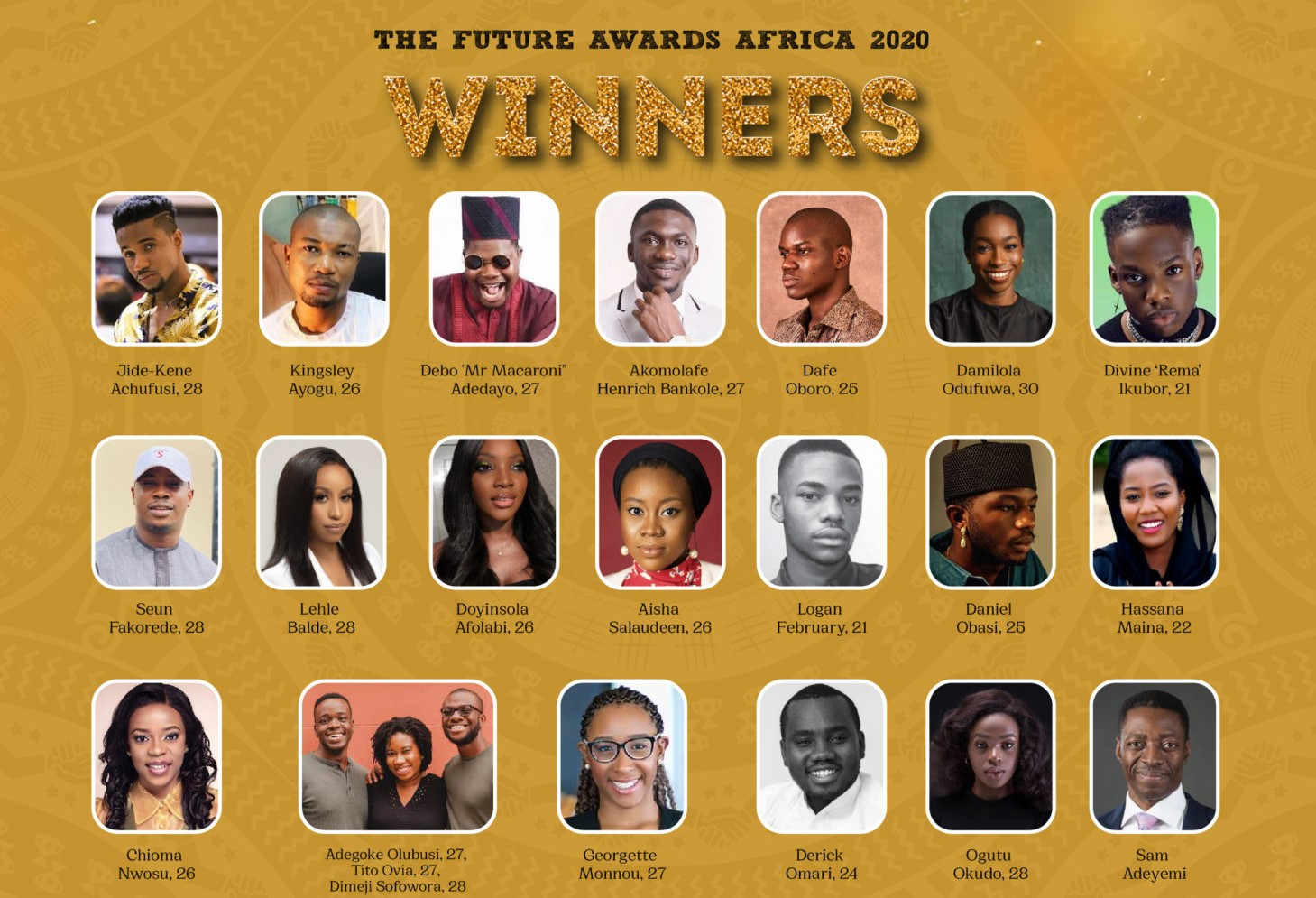 Winners emerge at the 2020 The Future Awards first ever digital edition + list of winners