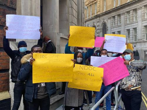 Beneficiaries of NDDC scholarship scheme protest non payment of fees in London